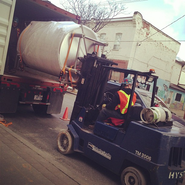 One of Bellwoods' new tanks, coming off the truck
